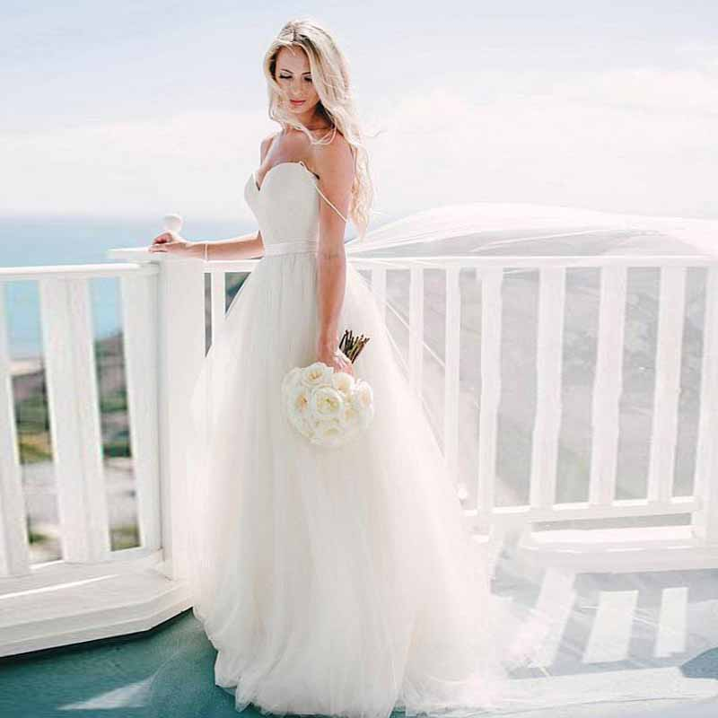Simple Cheap Beach Wedding Dresses 2019 Sweetheart