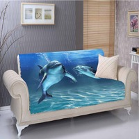 Else Blue Under Sea Fishes Swimming Dolphins 3D Print Living Room Stain Resistant Printed Furniture Protector Seat Sofa Cover