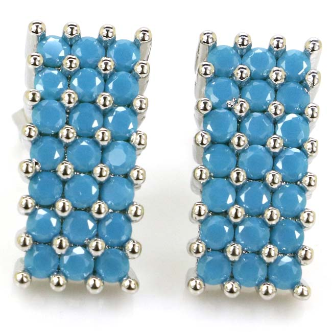 Gorgeous Top AAA+ Blue Turquoise Woman's Present 925 Silver Ear Stud Earrings 16x8mm