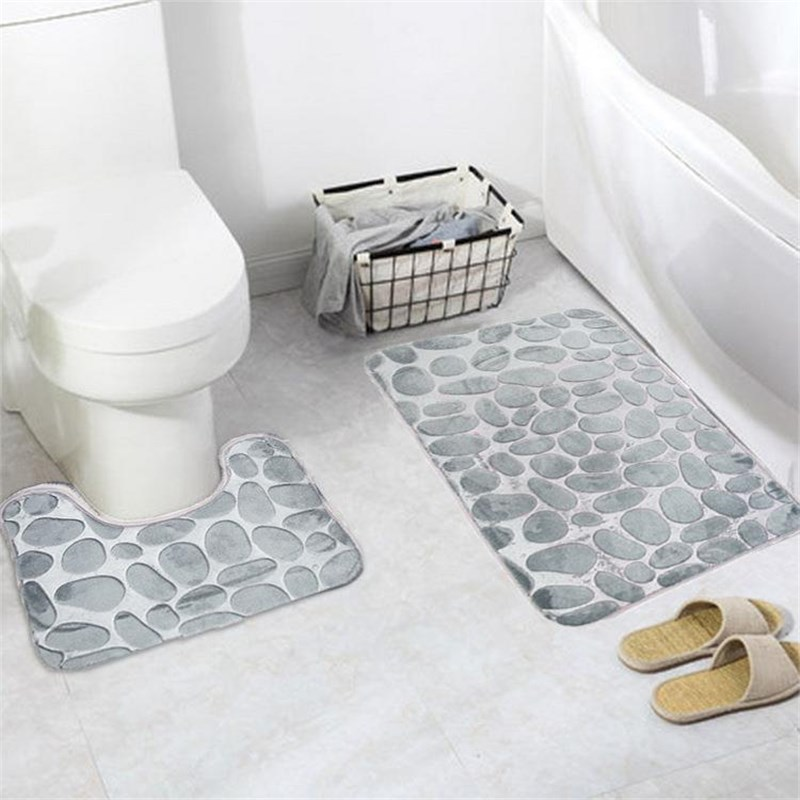 Badematten Set Grau 2pcs/set Pvc Mesh Thicken Blended Floor Bath Mats Set Non