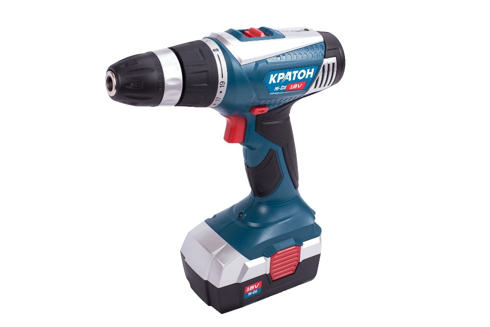 Cordless Drill-Screwdriver KRATON CD-18-K 12v cordless electric drill screwdriver power tools with lithium battery and two speed adjustment for handling screw punching