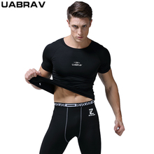 UABRAV Summer Quick-dry Running T-Shirt Compression Breathable Gym Fitness Gogging Men Sport Short Sleeve T-Shirts