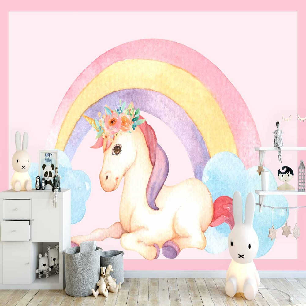 Else Pink Floor Rainbow Unicorn Horse Blue Cloud 3d Print Cartoon Cleanable Fabric Mural Kids Children Room Background Wallpaper