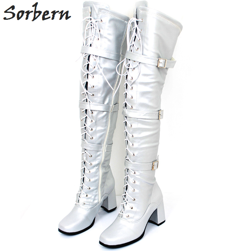Sorbern Silver Over The Knee Boots For Women Chunky Shoes Square Heels Women High Heels Boots 70S Gogo Shoes Custom Color цена