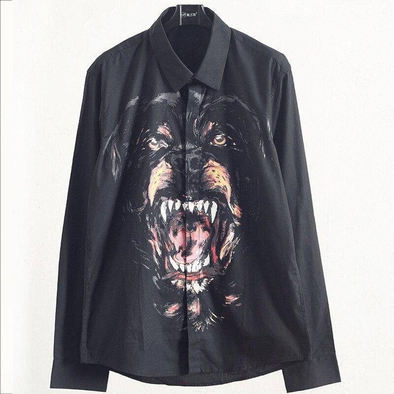 Nouveau automne 2018 style hommes imprimé motif tête de chien baggy chemise à manches longues