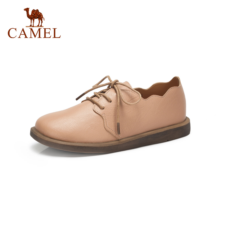 CAMEL Spring New Women Genuine Leather Retro Single Shoes For Ladies Casual Sweet Low Heel Pumps