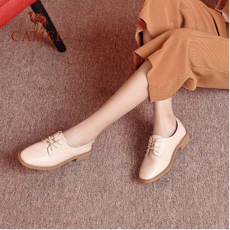 Pompe Ladies Scarpe Wild New School Retro Donna Lace Pu Bound Woman albicocca Fashion spesso Low casual Cammello Leather Nero Heel Cross riso qwxICFpw