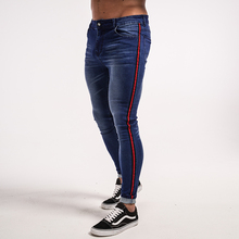 Gingtto Skinny Jeans Men Blue Tape Classic Hip Hop Stretch Hombre Slim Fit Brand Biker Style Tight Taping Male zm20