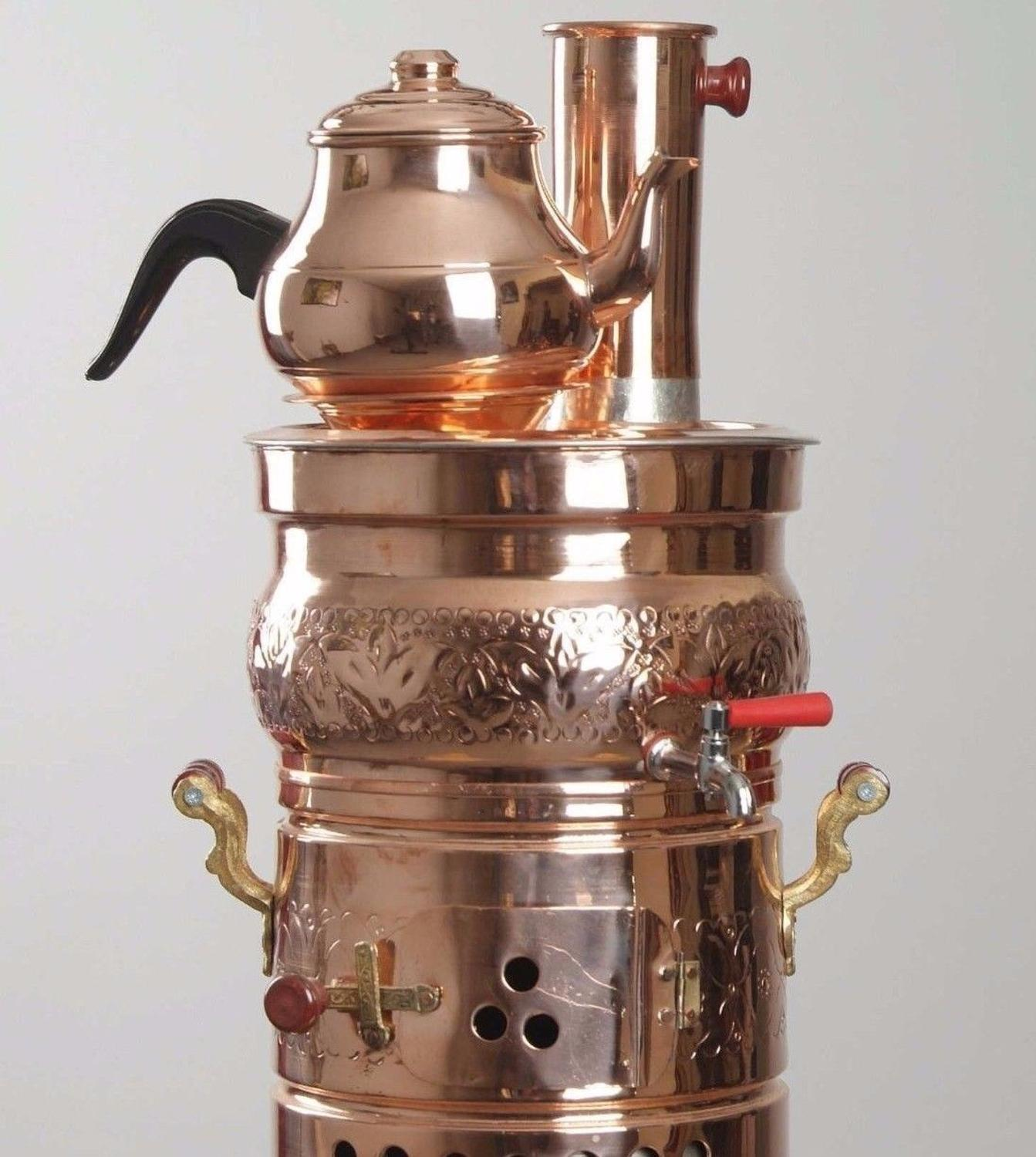 Copper Hand Painted Electric Samovar Tea Kettle, Works With Electric