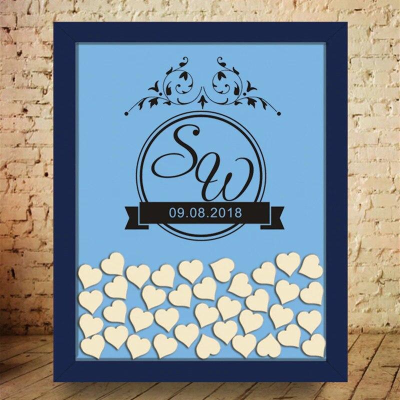Cadre en bois mariage livre d'invités Alternatives signer en 3D coeur Drop Box initiales personnalisées et Date décalque livre d'invité