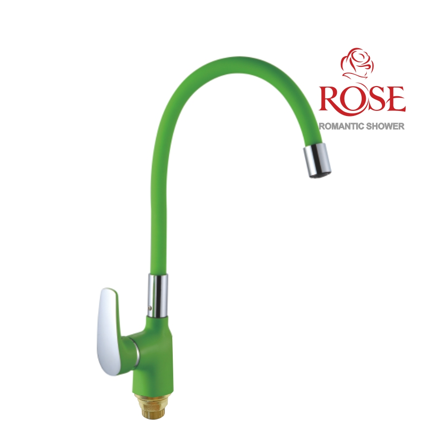 ROSE Kitchen Faucet With Nut Flexible Spout, Movable Faucet Kitchen,the Faucet On The Sink In The Kitchen, Flexible Brass Faucet, Faucet With Flexible Spout,for Hot And Cold Water, Green Tap,S443-5