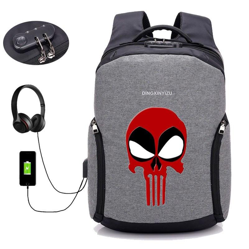 Sacs à dos antivol USB Charge sac à dos Deadpool sac à dos ordinateur portable femmes hommes homme sac à dos de voyage - 4