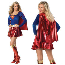 Supergirl Cosplay Costumes SuperWoman Sexy déguisement bottes filles Superman costume Halloween Superwoman Cosplay Costumes(China)