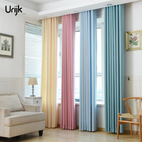 Urijk 1PC Semi Blackout Curtains For Living Room Velvet Linen Window Curtains Solid Color Bedroom Curtain
