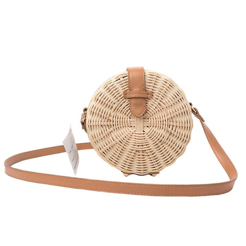 Women Bamboo Bag Bohemian Rattan Female Beach Handbag Circle Vintage Straw Crossbody Handmade Knitted Shoulder Bags SS3013 (13)