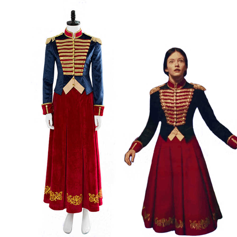4f7a1c323f850 The Nutcracker And The Four Realms Clara Cosplay Costume Retro Velvet Dress  Suit Adult Women Halloween Carnival Soldier Costume