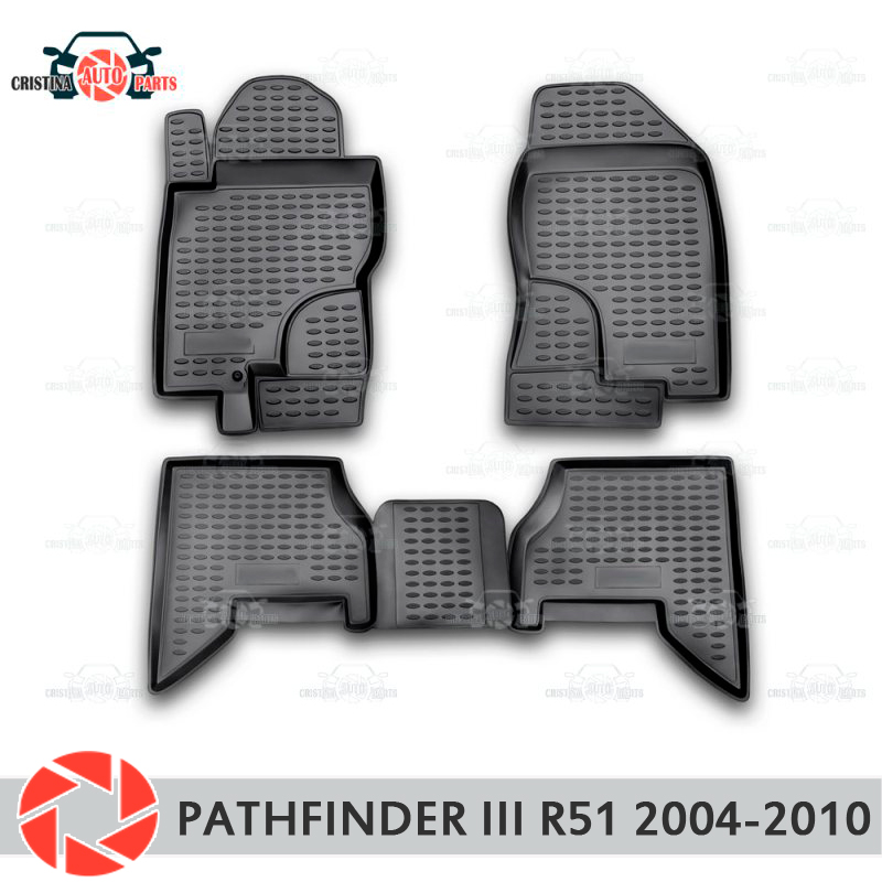 Floor mats for Nissan Pathfinder R51 2004-2010 rugs non slip polyurethane dirt protection interior car styling accessories