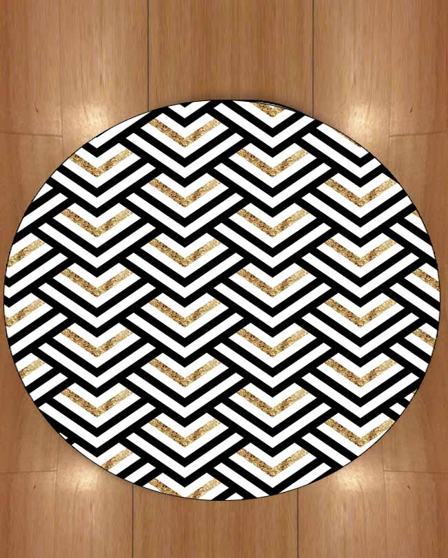 Else Golden Yellow Black Gray Geometric Bias Lines 3d Print Anti Slip Back Round Carpets Area Rug For Living Rooms Bathroom