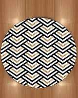 Sonst Goldene Gelb Schwarz Grau Geometrische Bias Linien 3d Druck Anti Slip Zurück Runde Teppiche Bereich Teppich Für Wohnzimmer bad