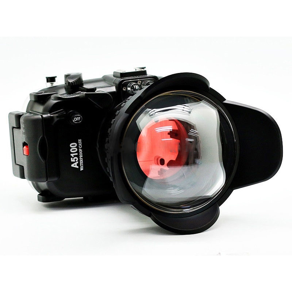 Meikon for Sony A5100 16 50mm 130ft Waterproof Housing Case Fisheye Wide Angle lens and Red