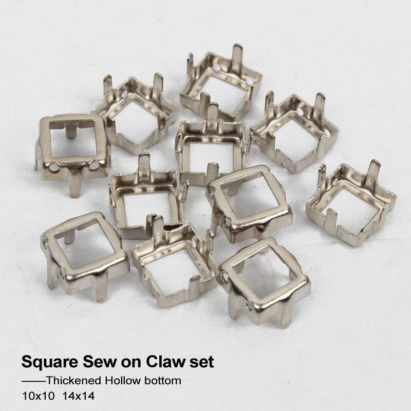 Модные Треугольники с открытой спиной к серебристого металла пустой Claw пришить Стразы коготь Установка с для DIY необычные камни 4 размера