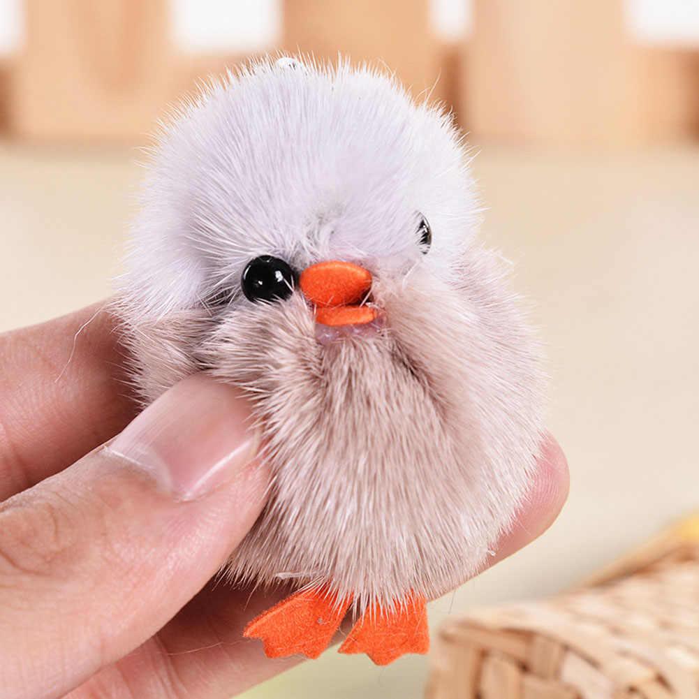 Cor Aleatória! 5 cm Bonito Mink Cabelo Mini Pintainho Macio Bichos de Pelúcia Plush Toys Keychain-Como Figura