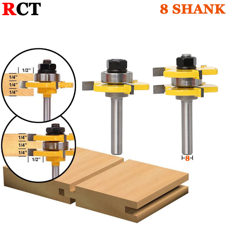 2 pc 8mm Shank high quality Tongue & Groove Joint Assembly Router Bit Set 3/4 Stock Wood Cutting Tool - RCT 2pcs high quality 1 4 shank tongue