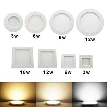 النازل الصمام جولة لوحة مربعة 3W 6W 9W 12W 15W 18W 24W الأضواء رقيقة جدا تصميم 230V LED لوحة ضوء الإضاءة الداخلية