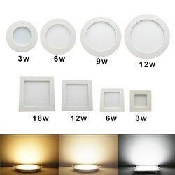 Светодиодная круглая/квадратная панель 3Вт 6Вт 9Вт 12Вт 15Вт 18Вт 24Вт. Встраиваемый светильник. Цветовая температура - 3000К 4000К. IP20