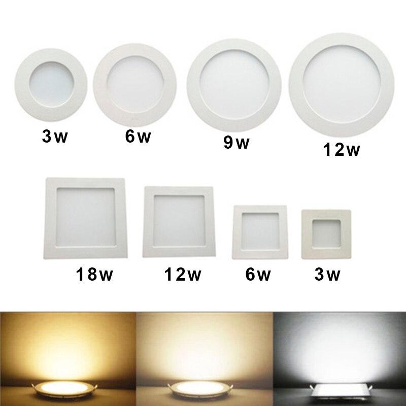 Downlight LED panneau carré rond 3W 6W 9W 12W 15W 18W 24W projecteur Ultra mince conception 230V LED panneau lumineux éclairage intérieur