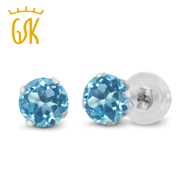 a3c9f27f4 GemStoneKing 1.20 Ct 5mm Round Natural Blue Topaz Women's Classic Earrings  10K White Gold 4-