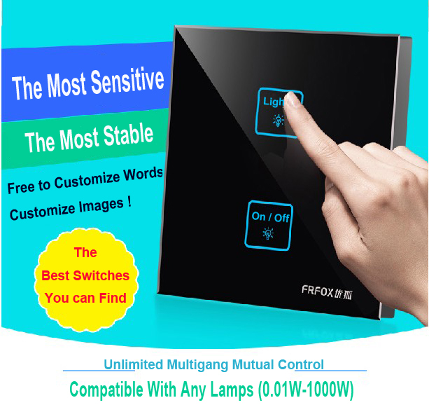 New Arrival 2 gangs 1 way Crystal Glass Led Black DIY touch light wall switch touch switch free Customize words, Free Shipping 2017 free shipping smart wall switch crystal glass panel switch us 2 gang remote control touch switch wall light switch for led