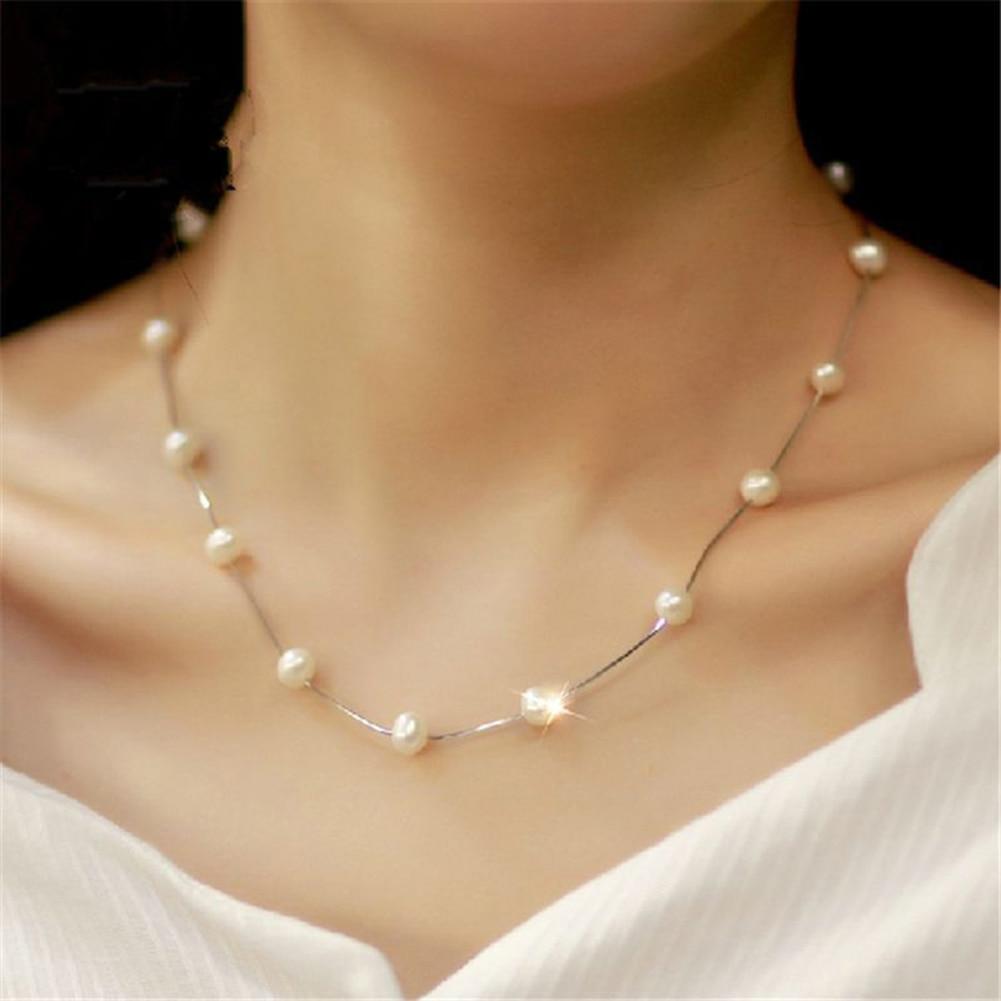 Fashion Women Faux Pearl Charm Pendant Chain Choker Short Necklace Jewelry