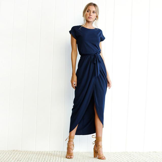 Summer women's Bohemian beach dresses personality Slim Tunic long dress casual short-sleeved waistline Asymmetrical dress