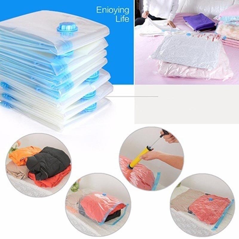 Storage-Organizer Vacuum-Bag Compressed Foldable Travel Transparent Large Seal Saving