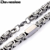 8mm Mens Chain Boys Necklace Silver Tone Byzantine Cuboid Link High Quality Stainless Steel Necklace LKN268