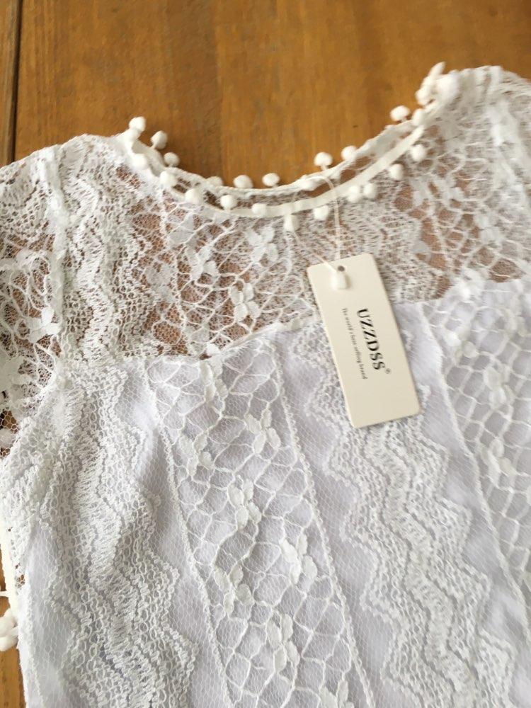 UZZDSS летнее платье 2018 Для женщин Повседневное пляжные короткое платье; кисточкой черный, Белый Цвет Мини кружевном платье сексуальное Платья для вечеринок Vestidos S-XXL