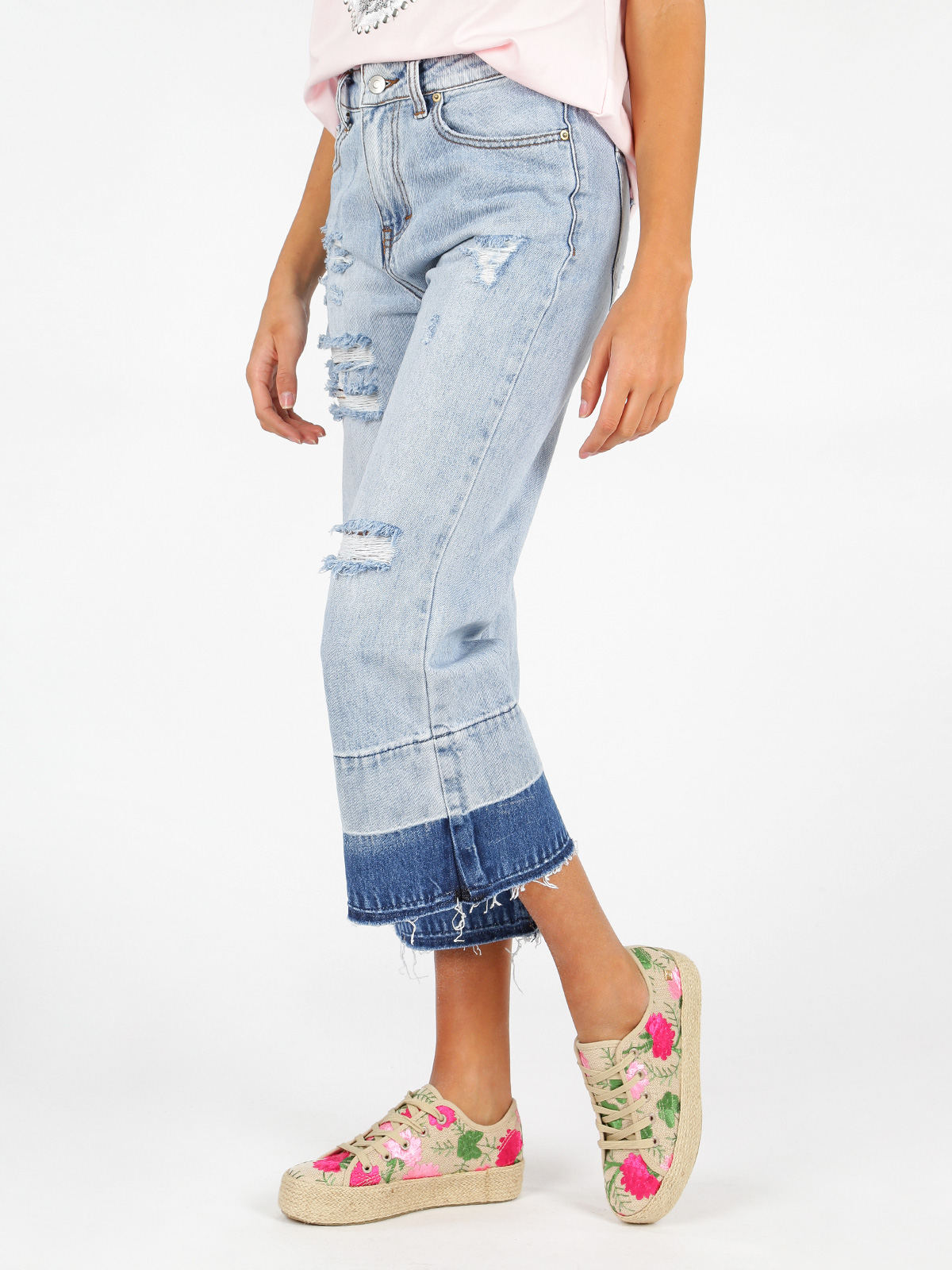 Boyfriend Jeans Ripped Bell-Bottom