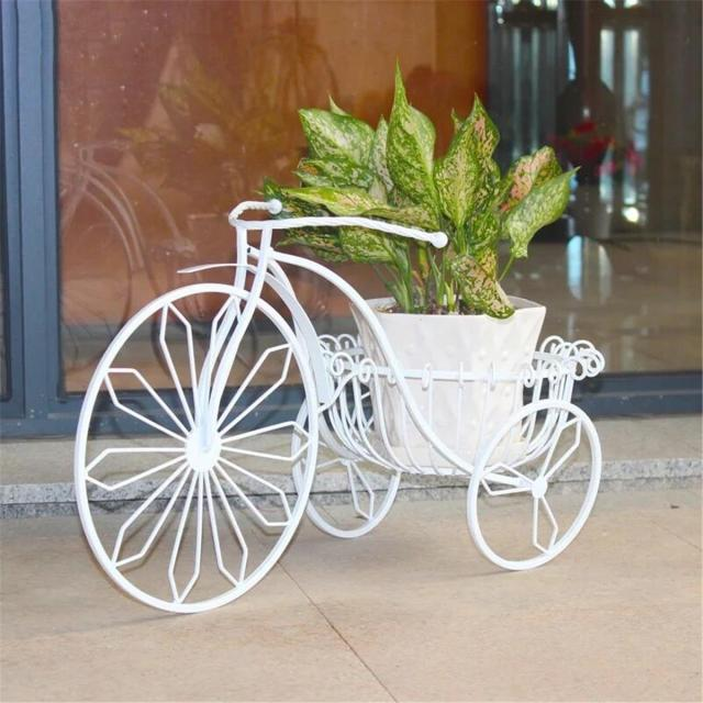 Metal Vintage Tricycle Bicycle Bike Flowers Nursery Pot Planter Garden Plant Holder Basket Home Patio Coffee Decoration
