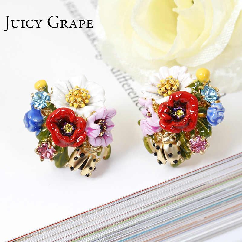 Juicy Grape Fashion High-end Enamel Glaze Flower Series Ladybug Stud Earrings Silver Needle Flower Earrings For Women Jewelry