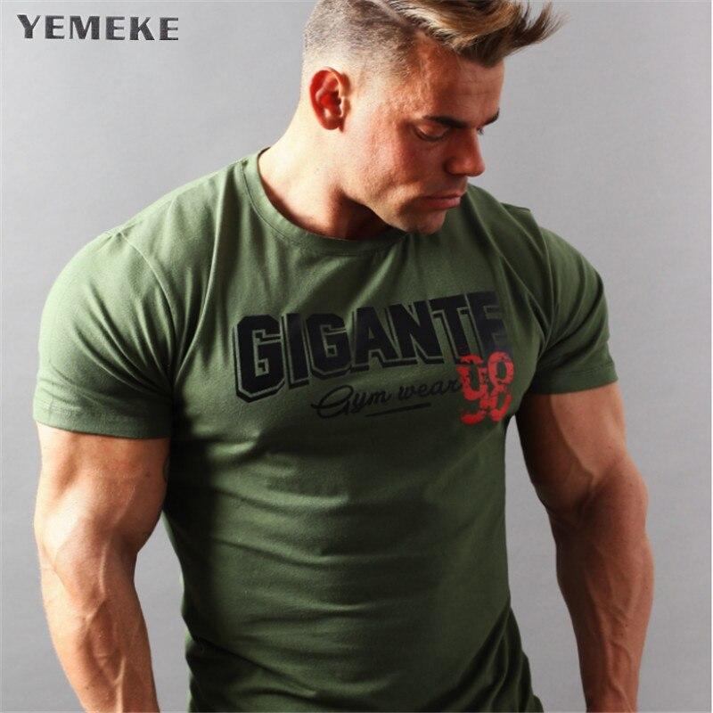 YEMEKE Brand Mens muscle T shirt bodybuilding fitness men tops cotton singlets Plus Big size TShirt gasp Short Sleeve Tshirt