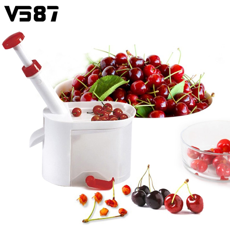 New Plastic Cherry Pitter Remover Machine Device Plunger Fruits Nuclear Corer Portable Kitchen Fruits Tools Gadgets