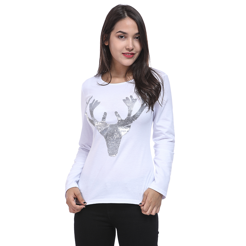 Elk Deer T Shirt 2018 Autumn Long Sleeve Womens T-shirt Fashion Christmas T-Shirt Female Ladies Casual Tops Tees Shirt ...