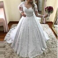 Vestidos De Noiva 2019 бальное платье с длинным рукавом свадебное платье прозрачная ткань с аппликацией и стразами принцессы кружевное свадебное пла
