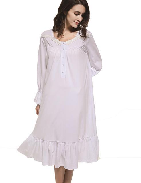 7114e7cc47 Lace Patchwork Sleep Dress Women Autumn Night Dress O-neck Long Sleeve  Nightdress Ruffle Hem