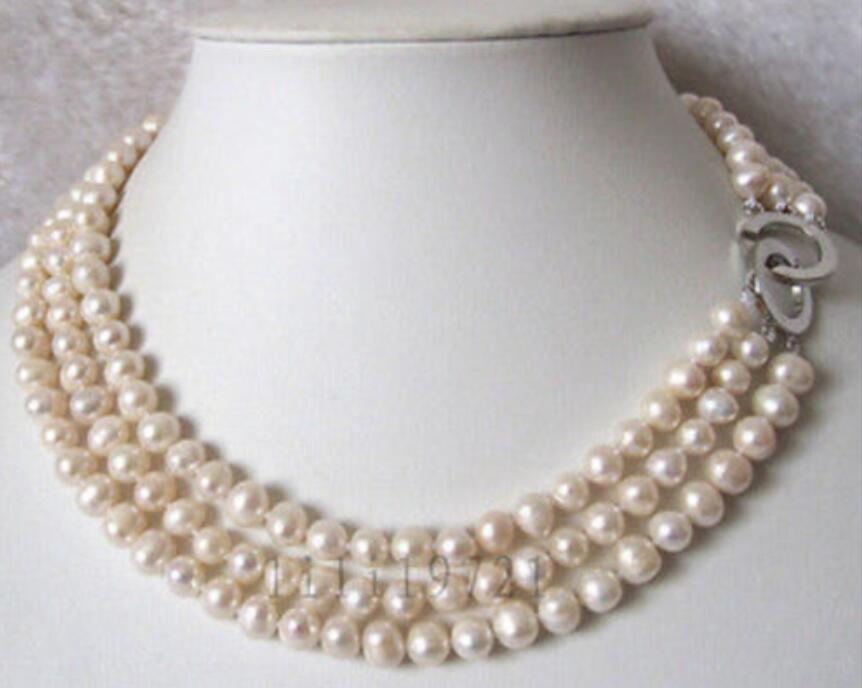 3 Lines 7 8mm White Freshwater Cultured Pearl Necklace 16 18 >>>girls choker necklace pendant Free shipping