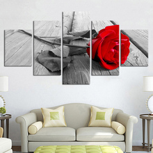 Home Decor Wall Art 5 Pieces Canvas Paintings Beautiful Red Rose Posters HD Prints For Livings Rooms Flowers Framework