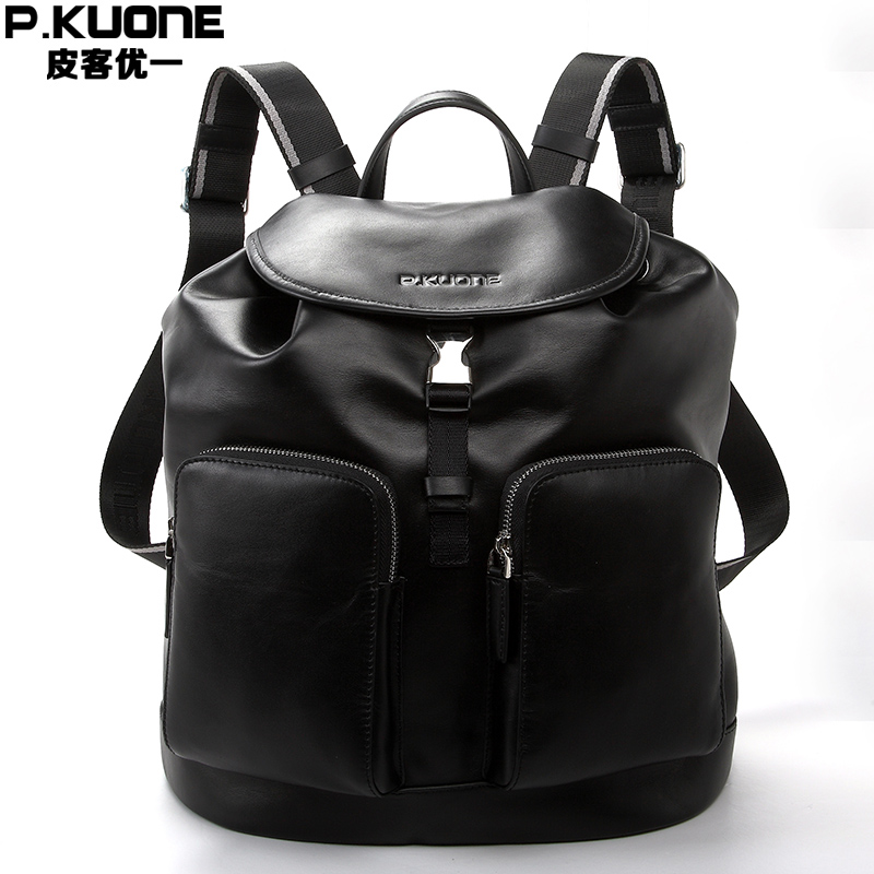 P.KUONE Genuine Leather 2017New Fashion Men Luxury Brand Black Bag Waterproof Laptop Messenger Travel Backpack Women School Bags 14 15 15 6 inch flax linen laptop notebook backpack bags case school backpack for travel shopping climbing men women