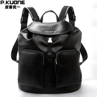 P KUONE Genuine Leather 2017New Fashion Men Luxury Brand Black Bag Waterproof Laptop Messenger Travel Backpack