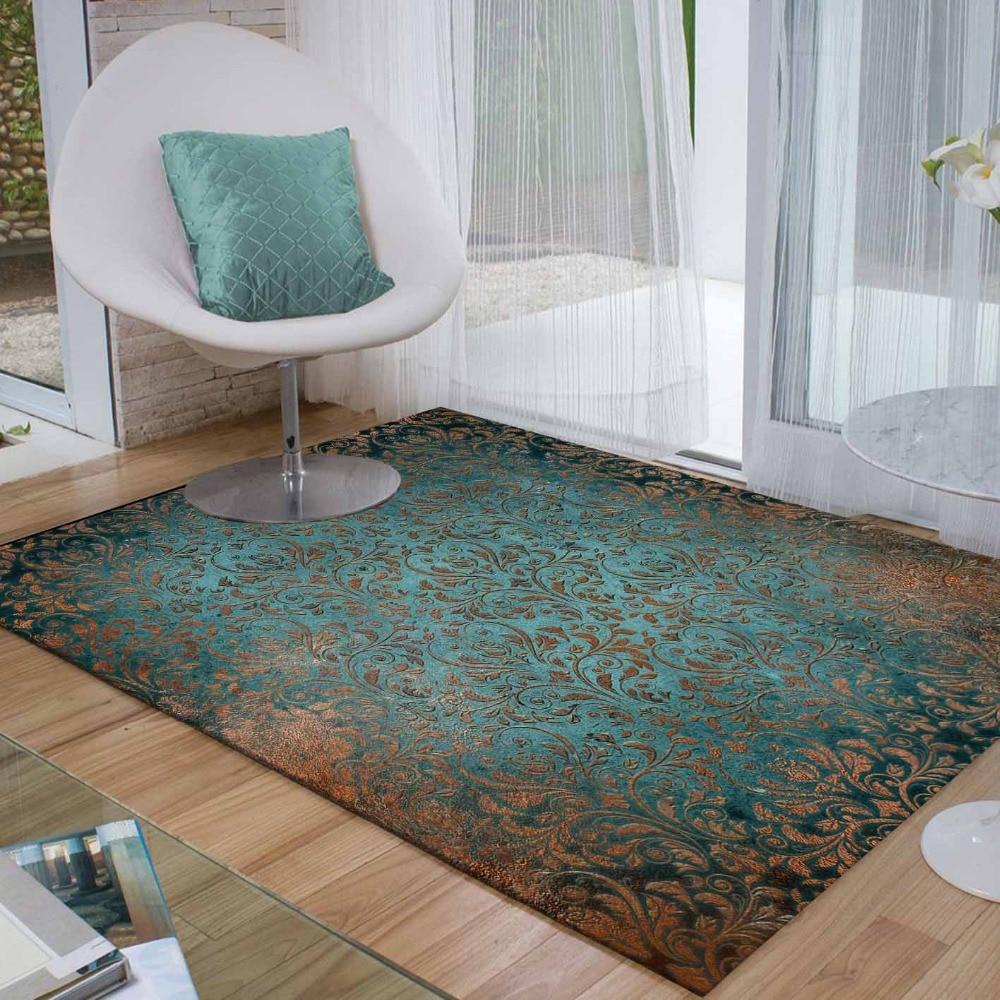 Else Green Brown Turkish Floral Vintage Flowers 3d Print Non Slip Microfiber Living Room Decorative Modern Washable Area Rug Mat